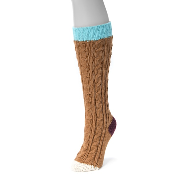 Muk Luks Women's Brown Acrylic Knee High Socks Pair