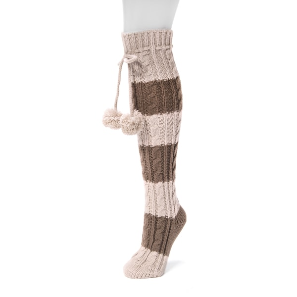 Muk Luks Women's Brown Acrylic Knee-high Cable Socks Pair