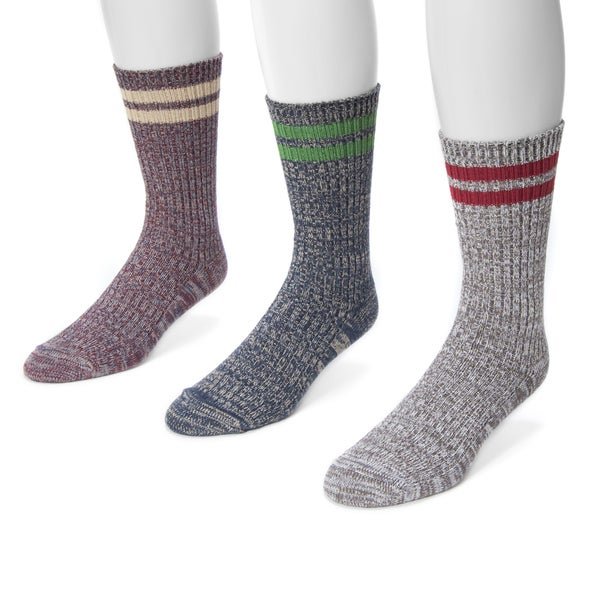 Muk Luks Men's Microfiber 3-pair Striped Sock Pack