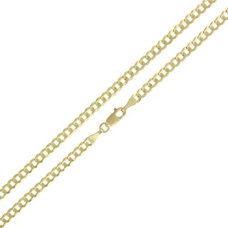14k Gold 3mm Solid Cuban Curb Link Chain Necklace