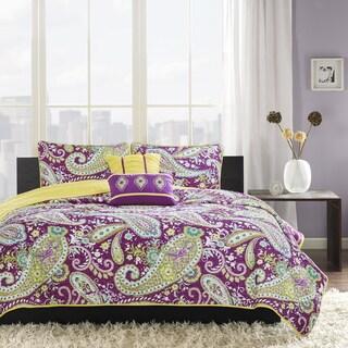 Intelligent Design Kayla Purple Coverlet Set