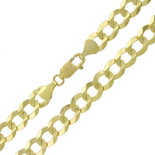 14k Gold 9.5mm Solid Cuban Curb Link Chain Necklace
