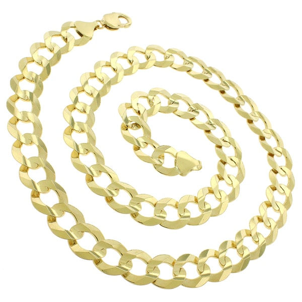 14k Gold 14mm Solid Cuban Curb Link Chain Necklace