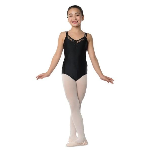 Danshuz Girl's Black Microfiber Lace Inset Front Bodysuit