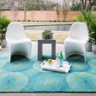 Indoor/ Outdoor Hand-hooked Somerset Aqua Circles Rug (7'9 x 9'9)