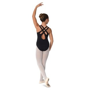 Danshuz Pinch Black Cotton/Nylon Leotard with Double Crossover Back Straps