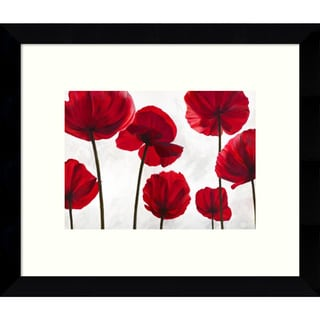 Luca Villa 'Red Friends (Poppies)' 11 x 9-inch Framed Art Print