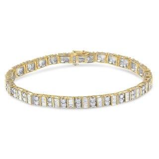 14k Yellow or White Gold 4ct TDW Diamond Tennis Bracelet (I-J, I1-I2)