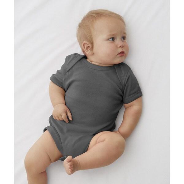 Rabbit Skins Charcoal Cotton Baby Rib Lap Shoulder Infant Bodysuit