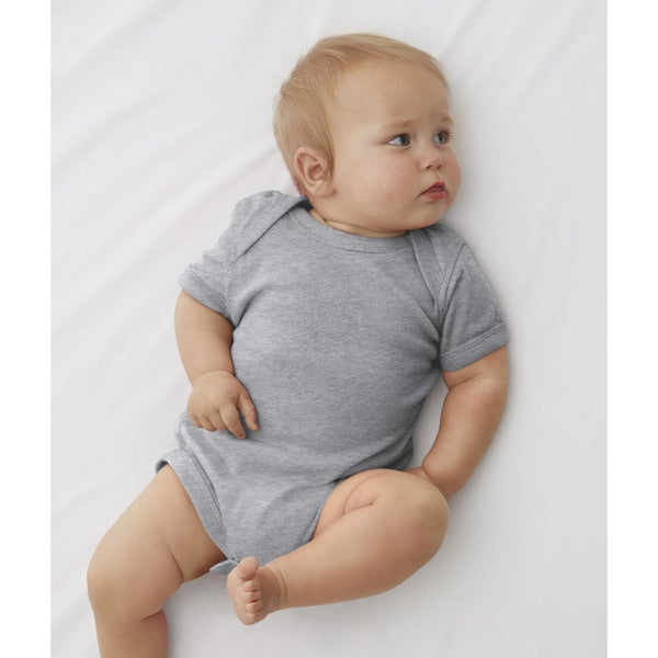 Rabbit Skins Infant Heather Grey Cotton/Polyester Ribbed Lap Shoulder Bodysuit