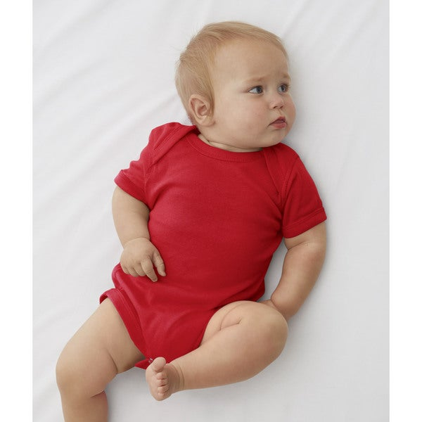 Rabbit Skins Red Cotton/Polyester Baby Rib Lap Shoulder Infant Bodysuit 19478020