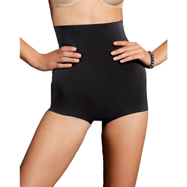 Maidenform Women's Smoothers Black Nylon/Spandex/Cotton Sleek Smooth Hi-waist Boyshort