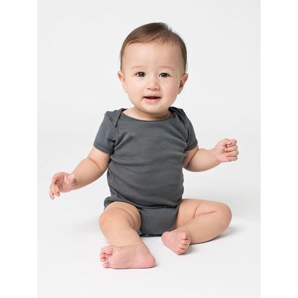 American Apparel Rib Short-sleeve Asphalt Infant Bodysuit