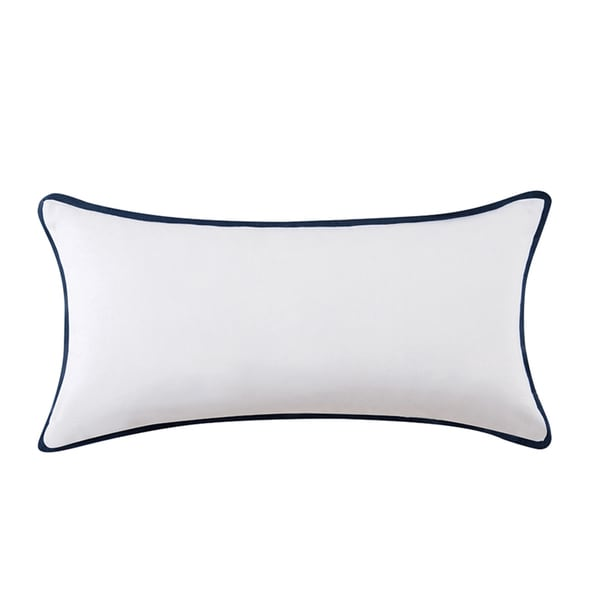 Vince Camuto Lyon Signature Blue/White Cotton Bolster Throw Pillow
