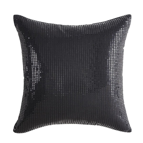 Vince Camuto Basel Black Cotton Sequin Square Throw Pillow