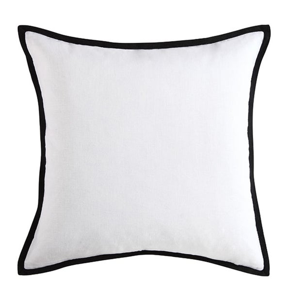 Vince Camuto Basel Black and White Cotton Textured Flange Square Throw Pillow