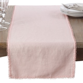 Pompom Design Linen Dining Room Table Runner