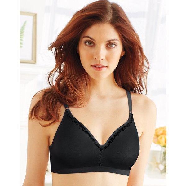 Comfort Women's Revolution Black Polyester Convertible Wirefree Bra
