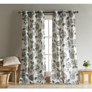 Duck River Grey Linen Floral Grommet Curtain Panel Pair