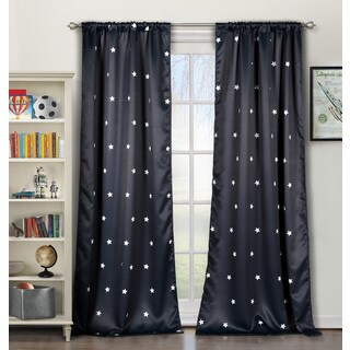 Duck River Star Blue/Grey Polyester Blackout Pole-top Curtain Panel Pair