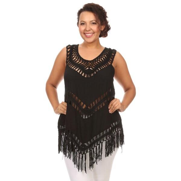 Hadari Woman plus size crochet fringed top