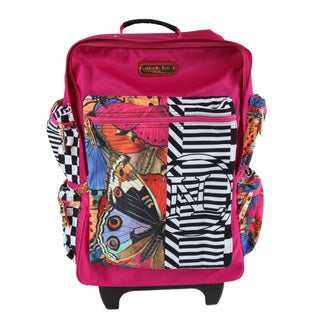 Nicole Lee Kailey Butterfly Multicolor Polyester/Nylon 21-inch Rolling Carry-on Fashion Upright Suitcase