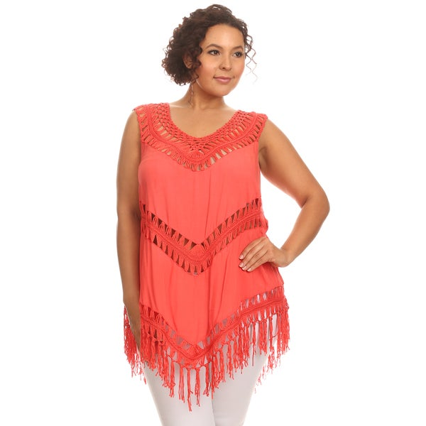Hadari Woman plus size crochet fringed top