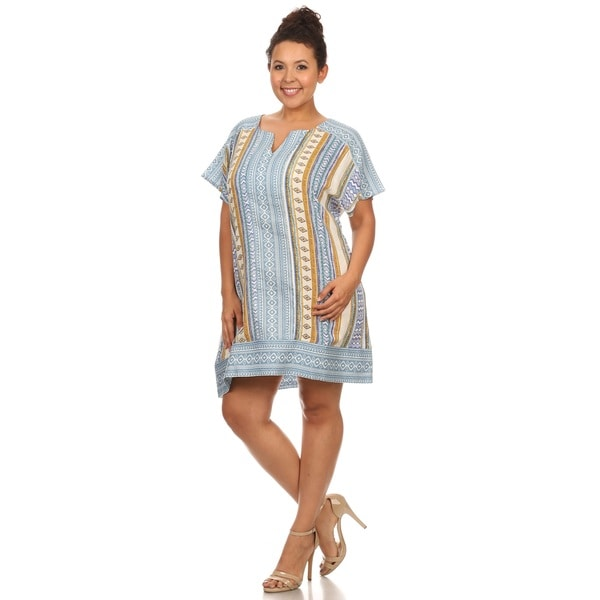 Hadari Woman plus size short sleeve boho print summer dress