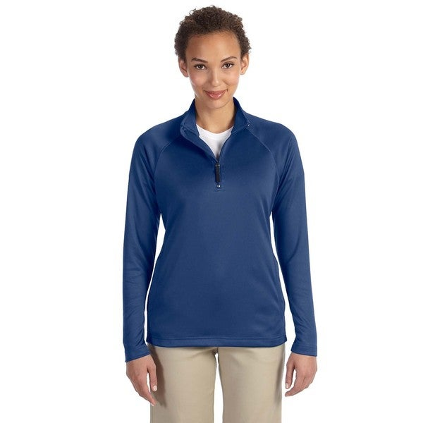 Women's Tech-Shell French Blue Polyester Stretch Compass Quarter-zip Heather
