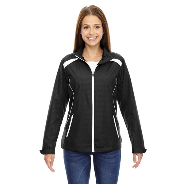 Tempo Women's 703 Black Recycled Polyester Lightweight Jacket With Embossed Print