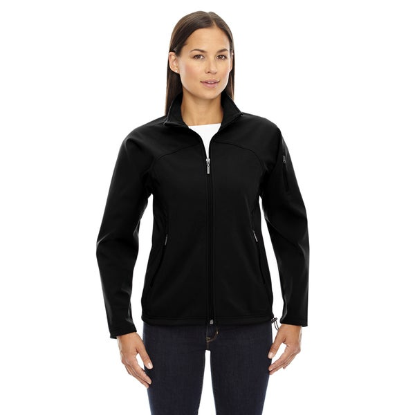 Women's Black Polyester Fleece Bonded 3-layer Performance Soft-shell Jacket