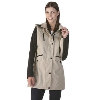 Nuage Poplin Beige Anorak Coat with Zip-off Hood