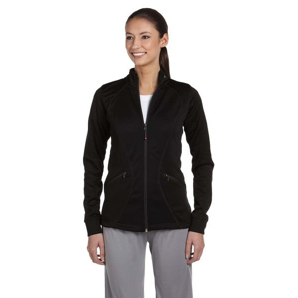 Tech Women's Black Polyester Fleece Full-zip Cadet Jacket