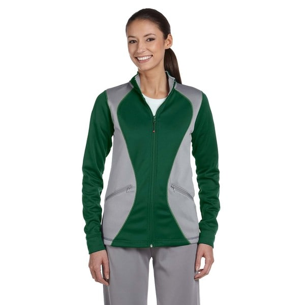 Tech Women's Dark Green/Steel Polyester Fleece Full-zip Cadet