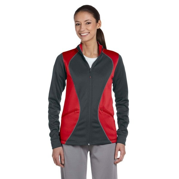 Tech Women's Grey, Red Polyester Fleece Dri-power Full-zip Jacket