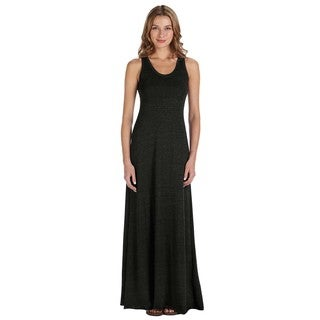 Women's Black Cotton/Polyester/Rayon Racerback Maxi Dress