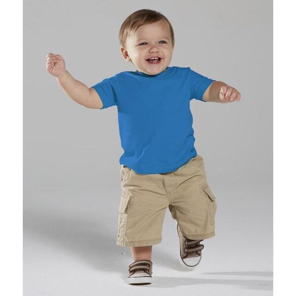 Infant's Blue Cotton Short Sleeve T-shirt