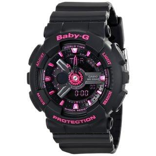 Casio Women's BA-111-1ACR 'Baby G' Analog-Digital Black Resin Watch