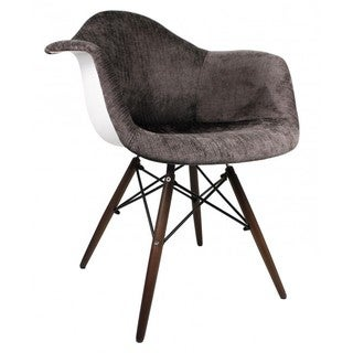 Contemporary Retro Molded Eames Style Velvet Fabric Accent Plastic Dining Armchair with Dark Wood Eiffel Legs