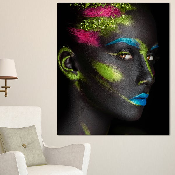 Dark-Skinned Girl with Make-up - Portrait Digital Art Canvas Print