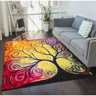 Well Woven Modern Bright Tree Abstract Multi Kids Rug (5'3 x 7'3)