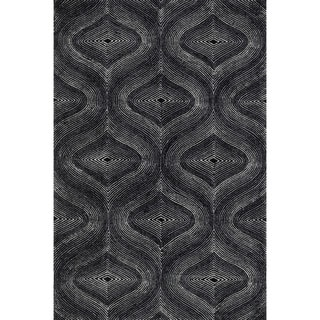 Indoor/ Outdoor Hand-hooked Somerset Retro Black/ Grey Rug (9'3 x 13')