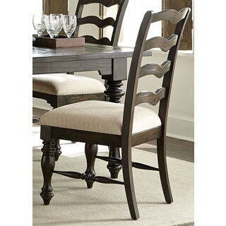 Southern Pines Bark Burlap Upholstered Ladderback Side Chair