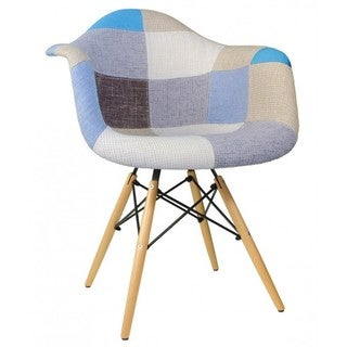 Woolen Fabric Eames Style Dining Armchair With Wood Eiffel Legs