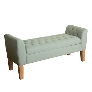 HomePop Kate Tufted Storage Bench Settee Spa Blue