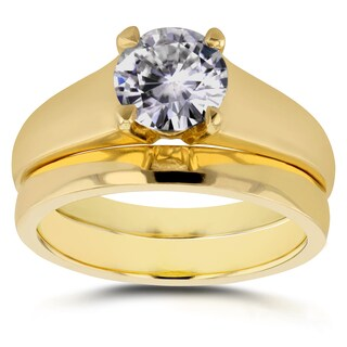 Annello 14k Yellow Gold 1ct Round Diamond Solitaire Bridal Set (H-I, I1-I2)