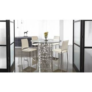 Franklin Cream Faux Leather and Stainless Steel Dining Chair (Set of 2)