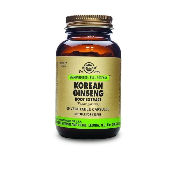 Solgar Standardized Full Potency Korean Ginseng Root Extract (60 Capsules)