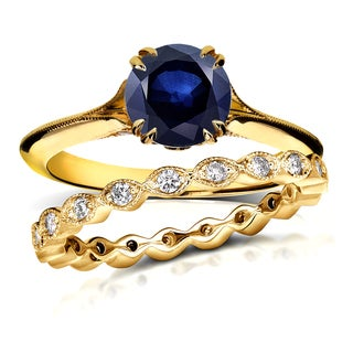 Annello 14k Yellow Gold 1ct Blue Sapphire and 2/5ct TDW Diamond Floral Antique Eternity Band Bridal Set (G-H, I1-I2)