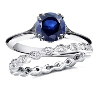 Annello 14k White Gold 1ct Blue Sapphire and 2/5ct TDW Diamond Floral Antique Eternity Band Bridal Set (G-H, I1-I2)